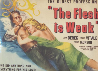 Vintage 1957 Lobby Card - The Flesh Is Weak - John Derek