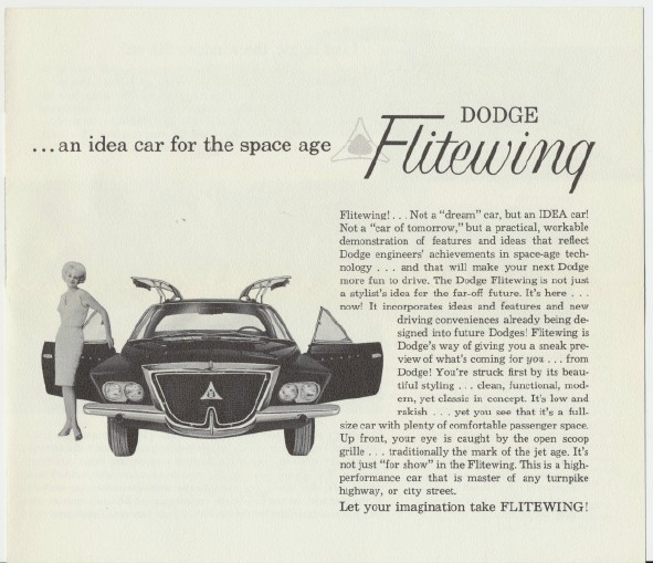 1961 Dodge Flitewing Prototype Experimental Concept Idea Car Adv