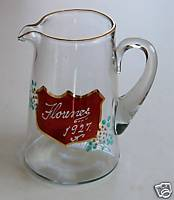 1927 Ruby Flash Glass Handpainted Pitcher - Florence