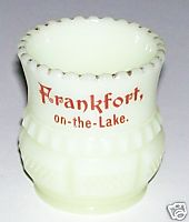 Frankfort On The Lake Michigan Custard Glass Toothpick Holder
