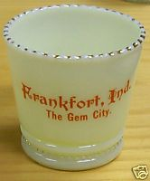 Frankfort IN Gem City Souvenir Custard Glass Toothpick Holder