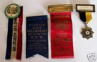 1908-1934 Pinback Badge Ribbon Lot - 4 Fraternal Lodges