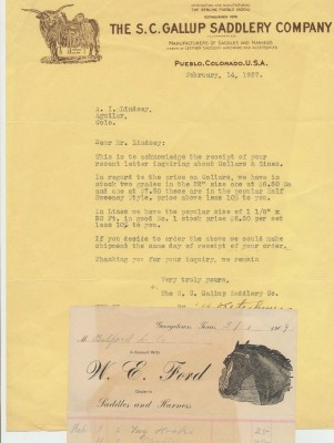 1927 Gallup Saddlery Co Letterhead + 1909 Ford Saddle Billhead