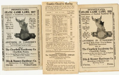 1926 & 1927 PA State Game Laws From Clearfield Taxidermy