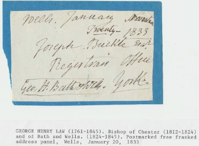 1833 Postmarked Free Franked Address Panel From Wells