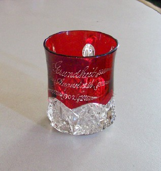 1902 Gesundheit Ruby Flash Glass Souvenir Cup From Chicago