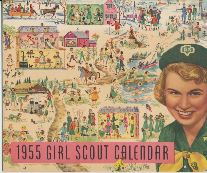 1955 Girl Scout Calendar With Black African-American Scout