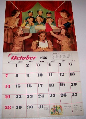 1956 Girl Scout Calendar With Black African American Scout