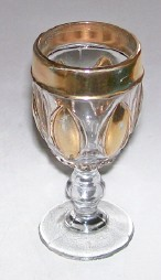 Vintage Clear Glass Cordial With Gold Flash Highlights
