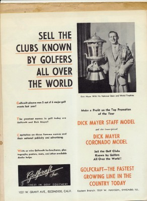 1958 Dick Mayer Golfcraft Golf Club Dealer Advertising Packet