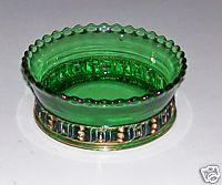 Green Glass Candy Dish With Gold Flash