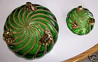 Ornate Footed Emerald Green Glass Bowl Set - Gold Flash Stripes