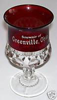 Greenville OH Souvenir Ruby Flash Glass Large Goblet