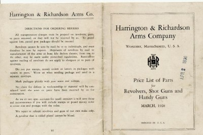 1928 Harrington & Richardson Gun Parts Price List - H & R