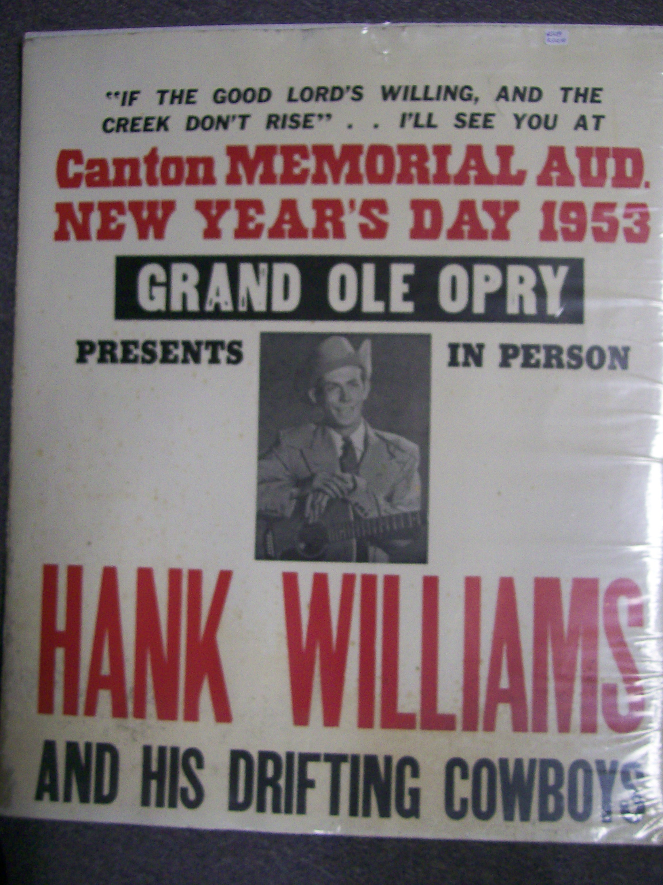 "Rare New Years Day 1953 Hank Williams Poster 22"" X 261/2"""