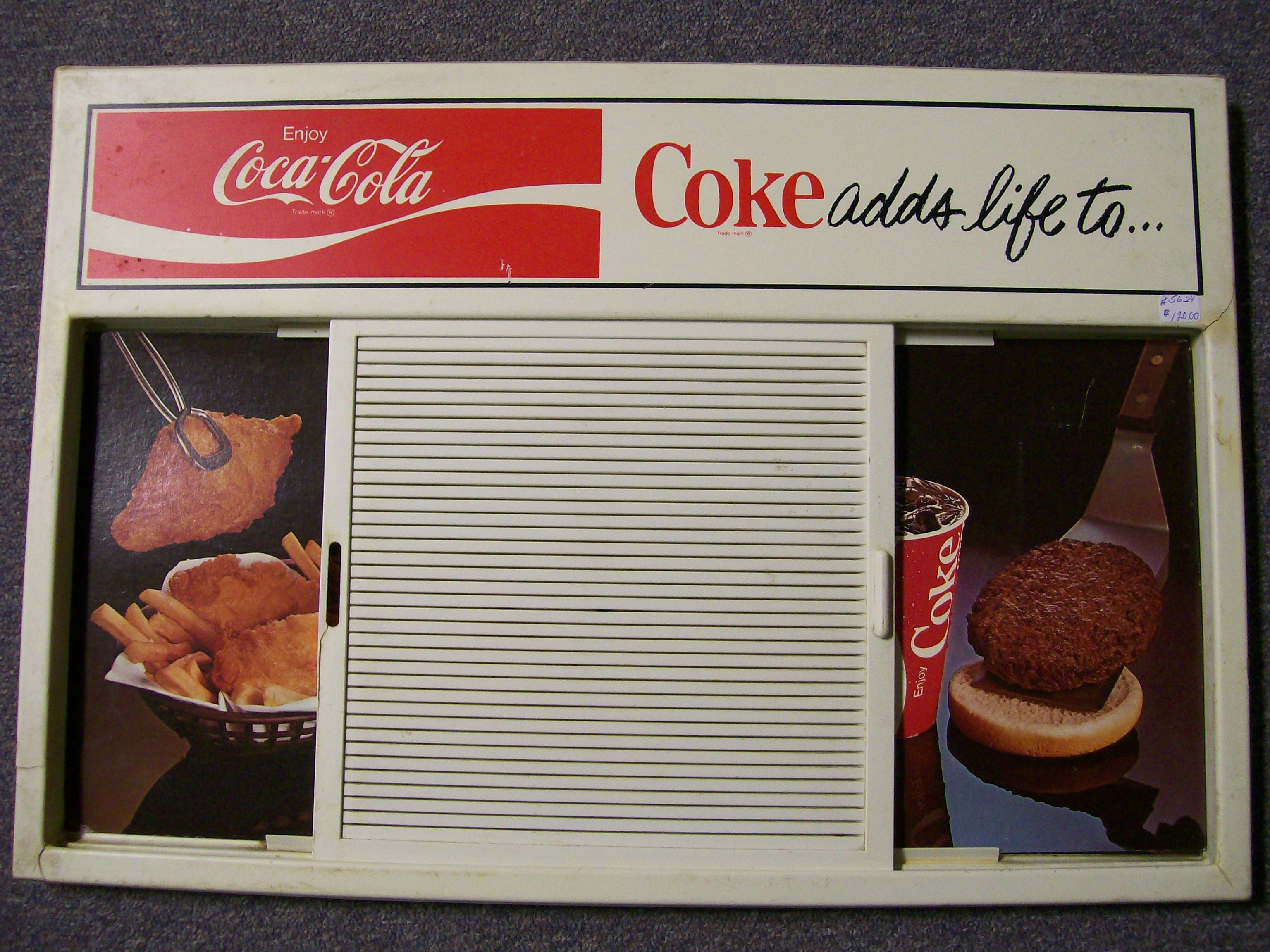 Coca-Cola Sign with 7 picture inserts