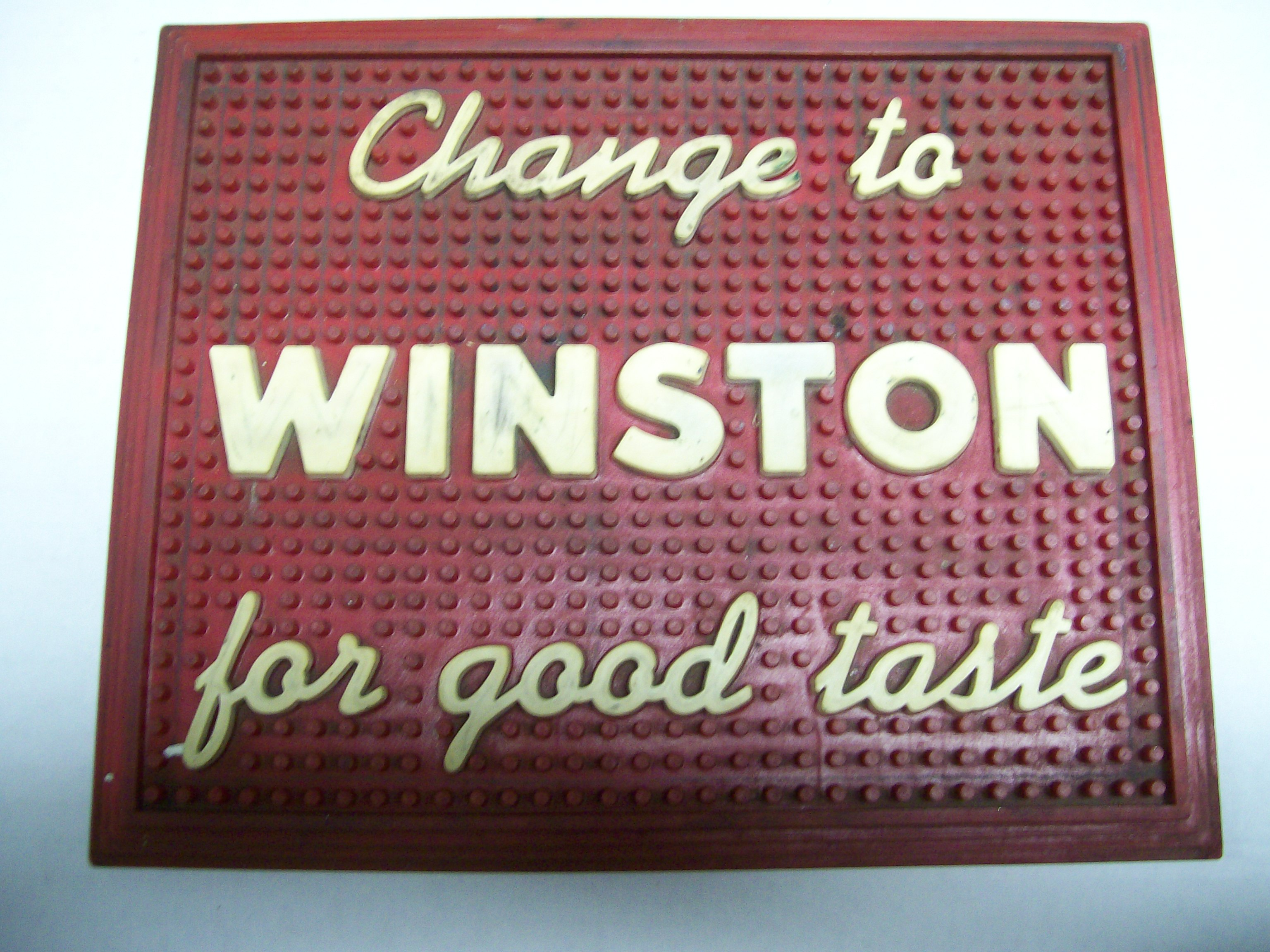 1950-60 Winston Cigarette Rubber Counter Display Mat