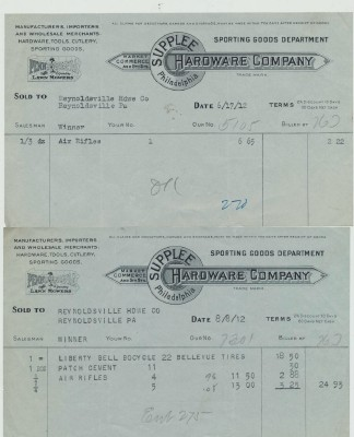 1912 Hardware Co Invoices For Air Rifles & Liberty Bell Bicycle