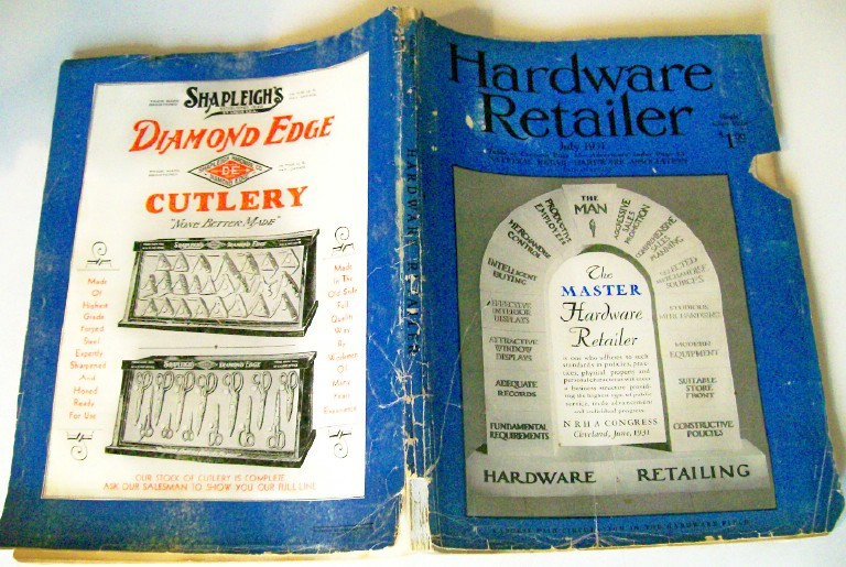 1931 Hardware Retailer Magazine - Tools, Locks, Knives + Ads