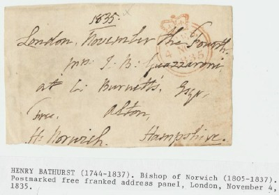 1835 Postmarked Free Franked Address Panel From London