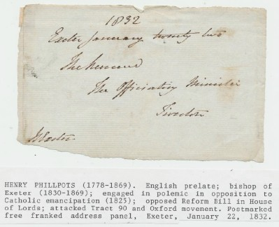 1832 Postmarked Free Franked Address Panel From Exeter