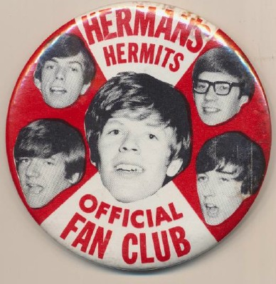 Vintage Herman's Hermits Official Fan Club Pinback Pin