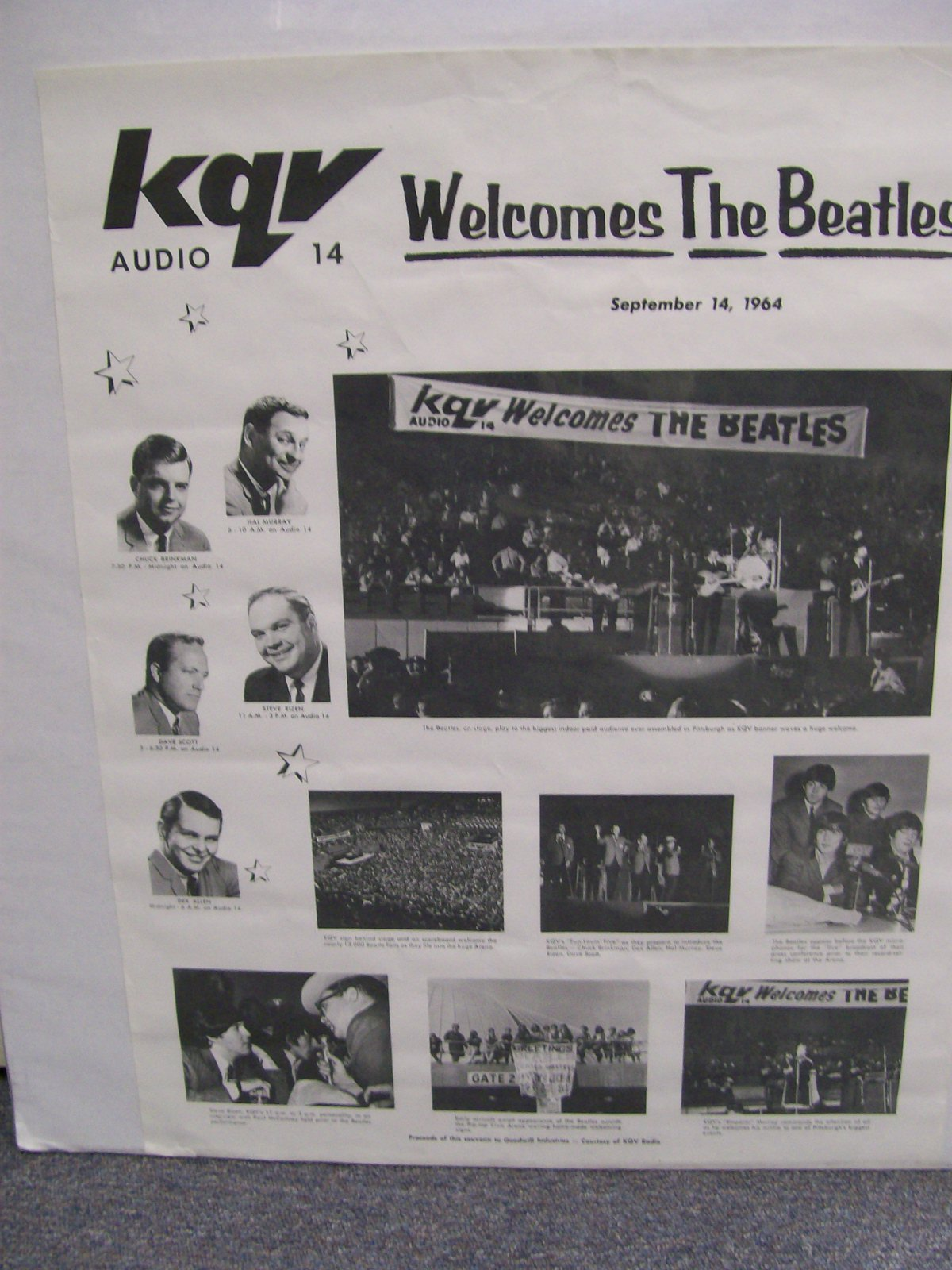 KQV BEATLES POSTER SEPT.14,1964 PITTSBURGH,PA.