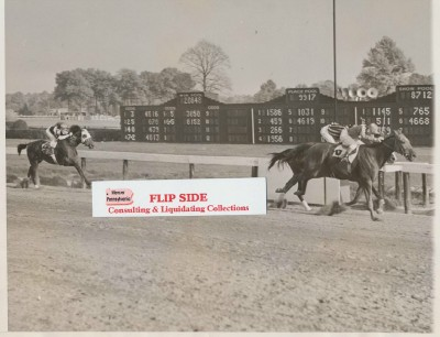 Vintage Horse Racing Action Photo Incl Cravat Man O' War's G-Son