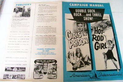 1956 Girls In Prison & Hot Rod Girl Movie Poster Ad Flyer