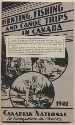 1942 Canadian Natl RR Hunting/Fishing Guided Trips W/Route Map