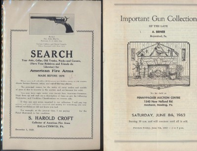 1963 Important Gun Collection Auction Catalog + 1929 Gun Memo