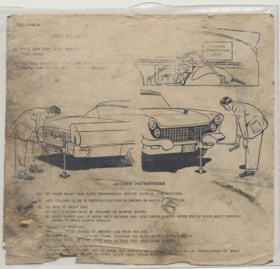 1958 & 1960 Lincoln Continental Original Jacking Instructions