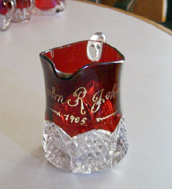 1905 Ruby Flash Glass Pitcher - Button Arches - John R Johnson