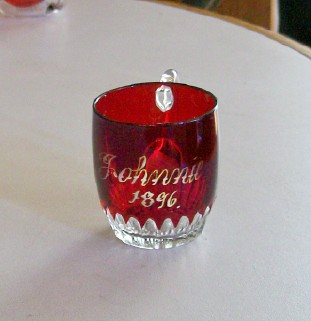 Vintage 19th Century 1896 Ruby Flash Glass Cup Inscribed Johnnie