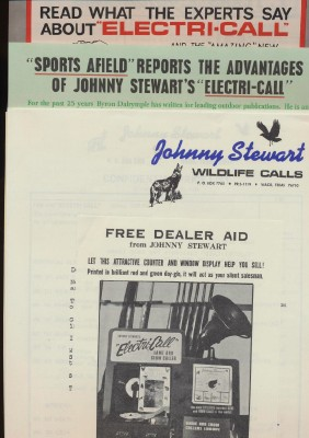 1965 Johnny Stewart Wildlife Game Calls Dealer Adv Press Kit