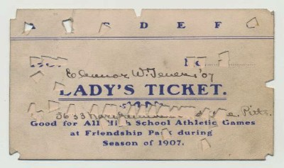 1907 Lady's Ticket To High School Football Friendship Park Pgh