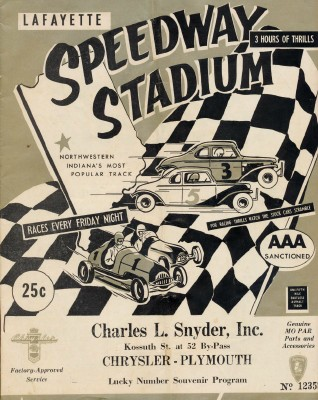 1955 Lafayette Speedway Stadium Car Racing Program