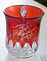 1916 Ruby Flash Glass Cup Or Mug - G F Lechner