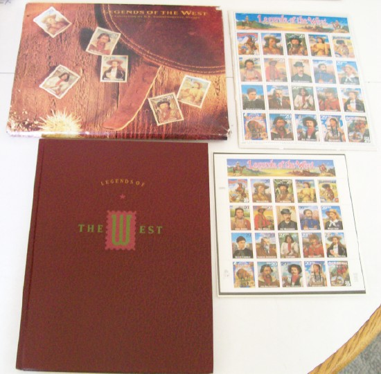 Vintage 1994 Legends Of The West Biography Book + 2 Stamp Sheets
