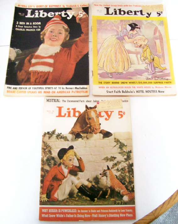 1938 Liberty Magazines - Walt Disney Snow White Cover Features