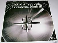1969 Lincoln Continental & Mark III Showroom Sales Literature
