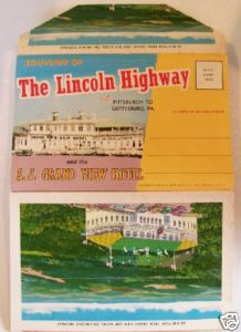 1963 Lincoln Highway & Grand View Ship Hotel PC Folder