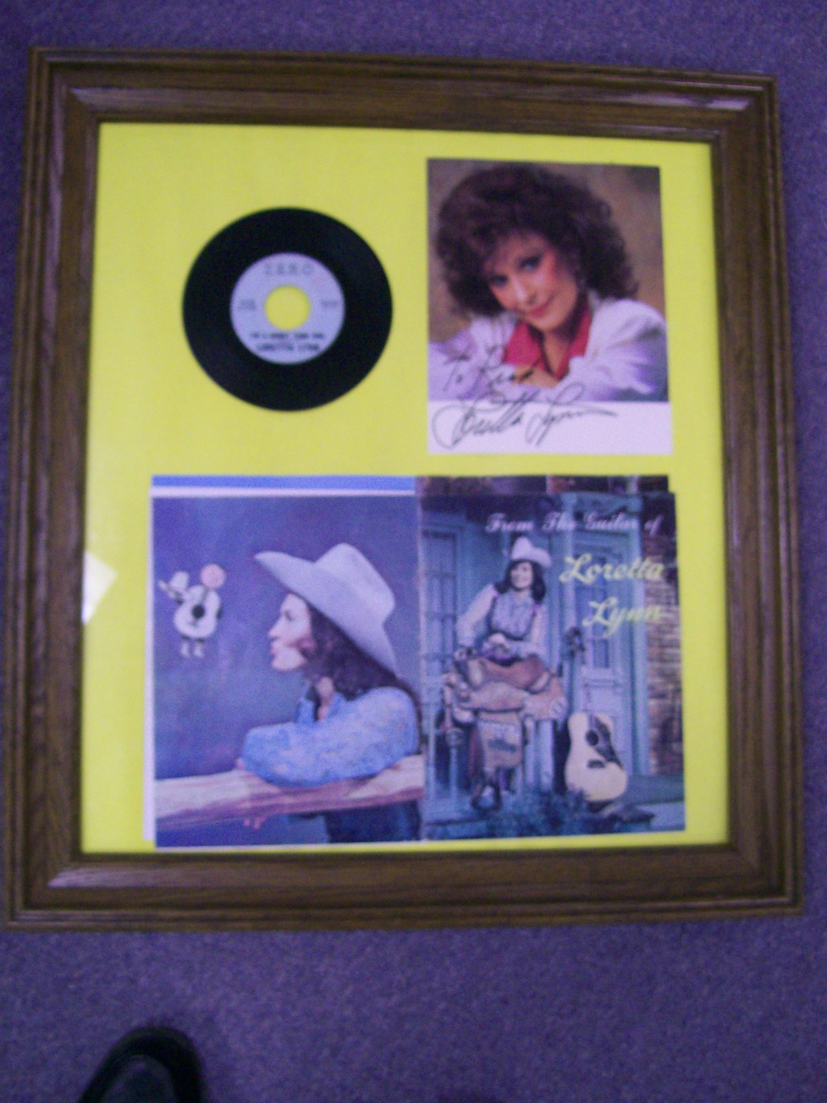 Loretta Lynn Framed Array Of Her First Record on Zero Label