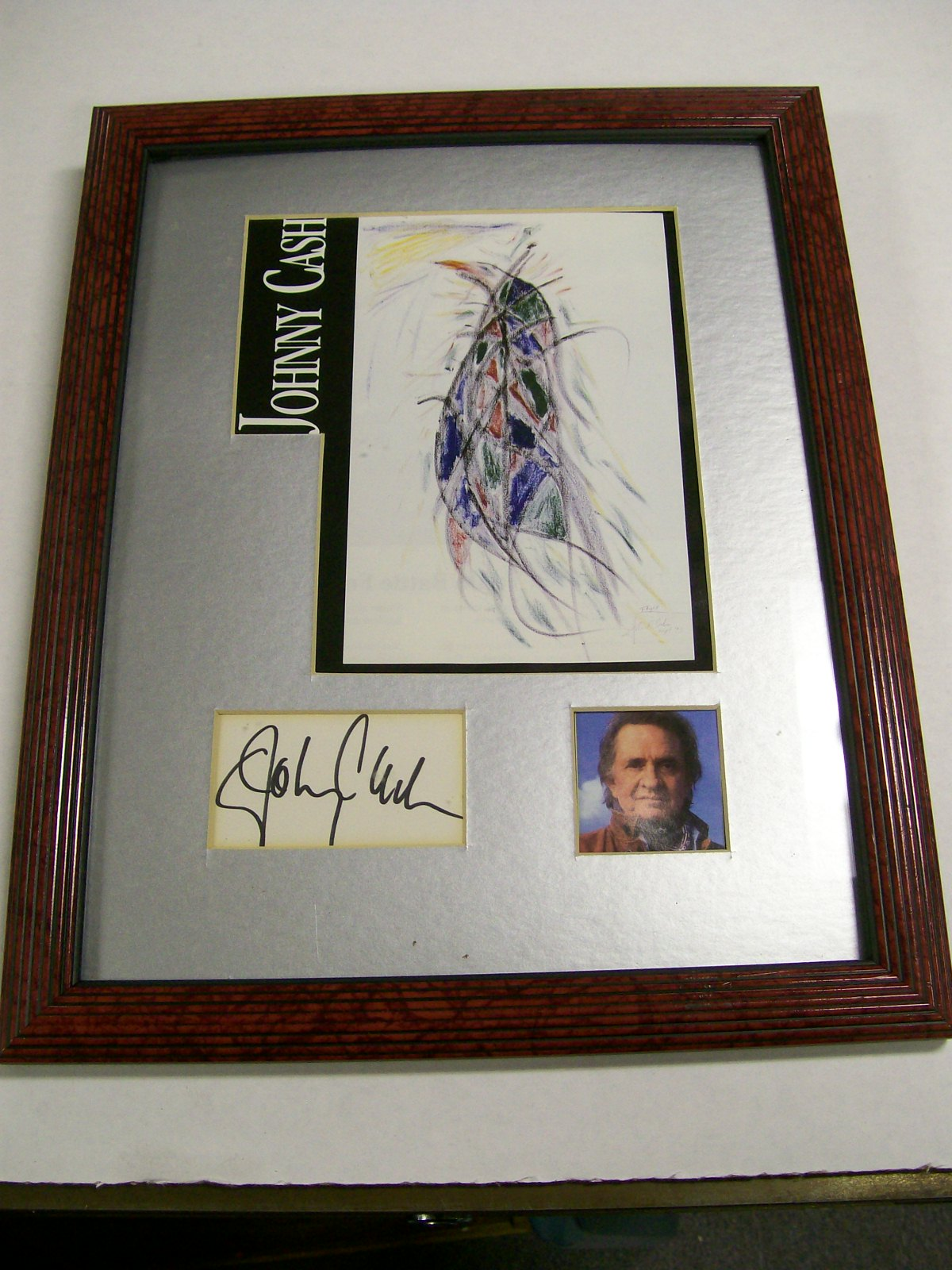 Johnny Cash Autographed Framed Photo of his Painting/Rare
