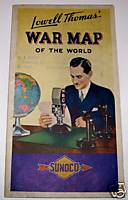 Vintage WWII Lowell Thomas War Map By Sunoco Oil Co