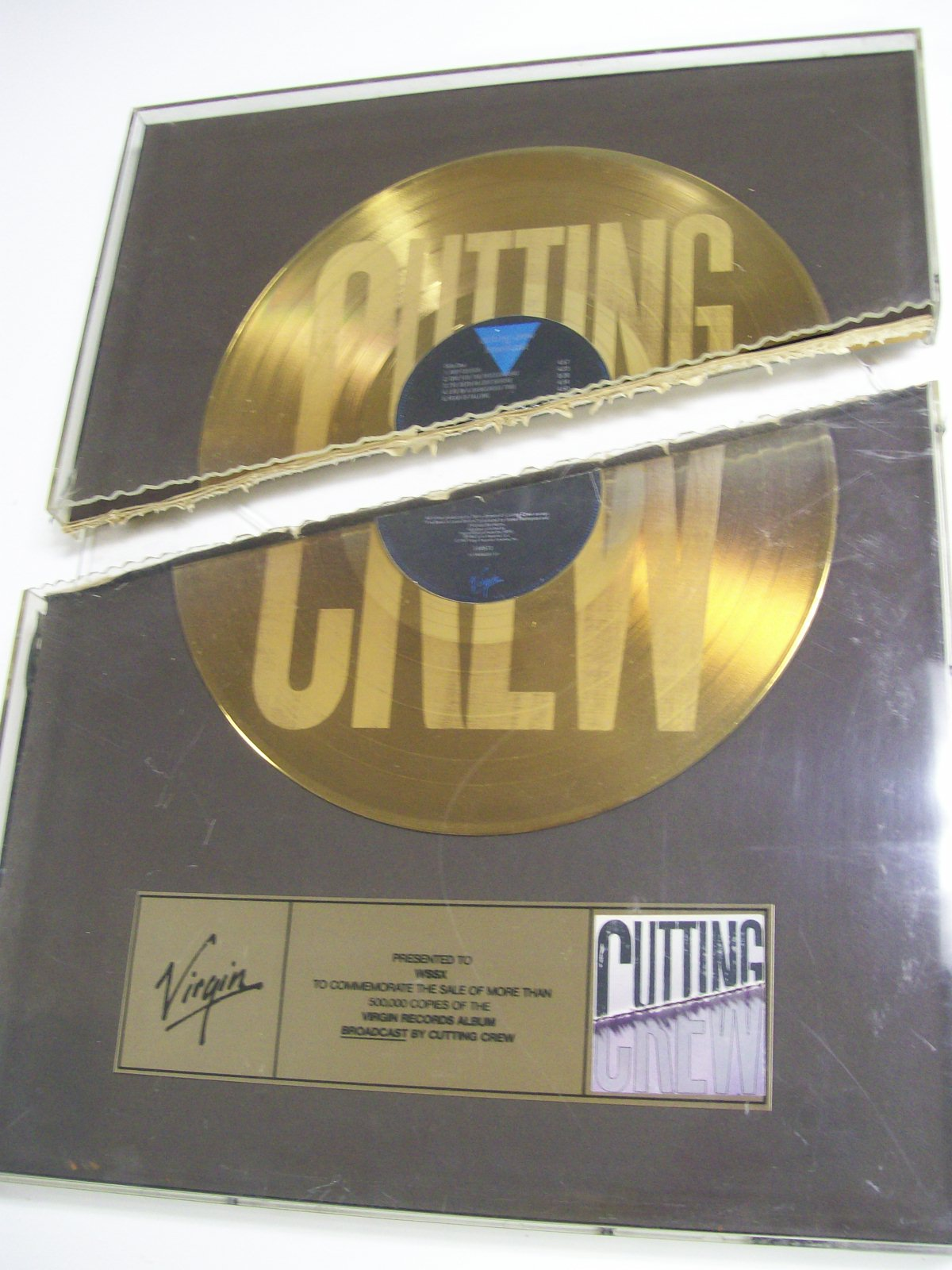 CUTTING CREW BROADCAST GOLD RECORD VIRGIN RECORDS