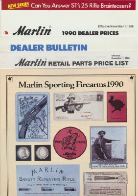 1990 Marlin Sporting Firearms Gun Catalog + Dealer Extras