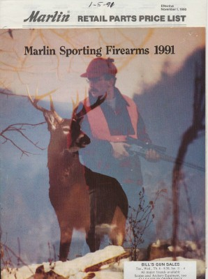 1991 Marlin Sporting Firearms Gun Catalog + Parts Price List