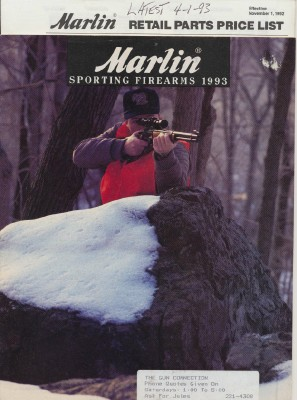 1993 Marlin Sporting Firearms Gun Catalog + Parts Price List
