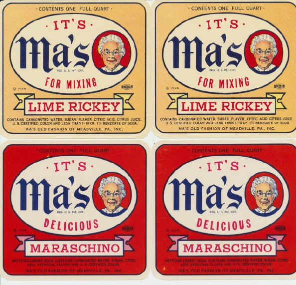 50s-60s Ma's Soda NOS Water Dip Labels - Maraschino--Lime Rickey